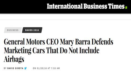 Doble Cara de Mary Barra: Defendiendo las Ventas de Vehículos sin Bolsas de Aire